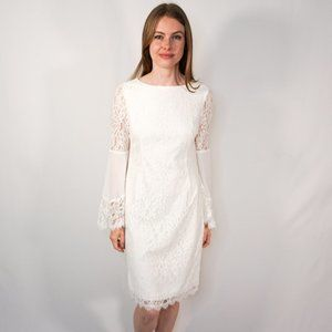 WHITE HOUSE BLACK MARKET Lace Bell-Sleeve Dress